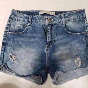 Zara Premium Wash BermudaTattered Shorts